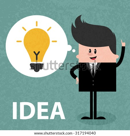 Happy businessman came new IDEA, thinking about success solution, lightbulb as creativity metaphor. Concept  illustration. Vector flat design. Trendy graphic cartoon style. Cute funny card - stock vector