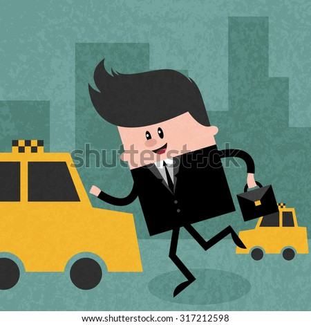 Happy businessman catching a taxi to go to work, man in suit with briefcase on the street. Concept  illustration. Vector flat design. Trendy graphic cartoon style. Cute funny card