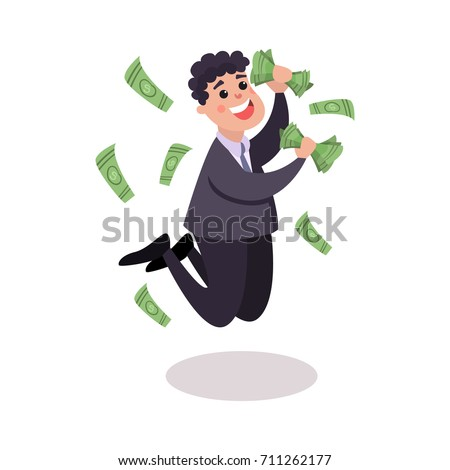 Happy businessman character jumping under money rain colorful vector Illustration