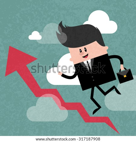 Happy businessman going up career ladder in sky, business concept in way to success and progress. Concept  illustration. Vector flat design. Trendy graphic cartoon style. Cute funny card