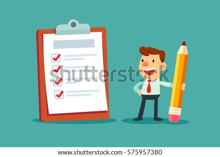 Happy businessman holding a pencil looking at completed checklist on clipboard.