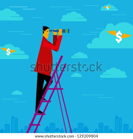 happy businessman holding binoculars and watching the money cloud - stock vector