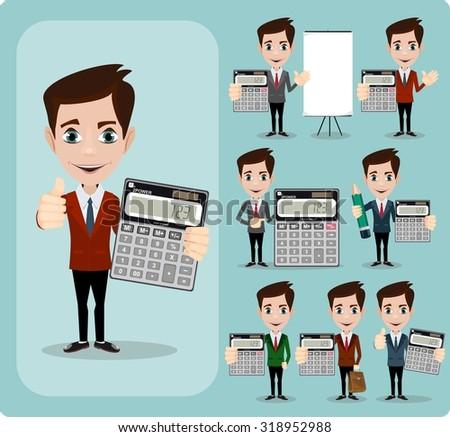 Happy Businessman Holding Calculator. Portrait Of Happy Accountant . Stock Vector illustration Set - stock vector