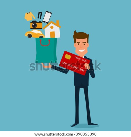 Happy businessman holding credit card and shopping bag with icons. Flat design style. Cartoon Vector Illustration. - stock vector