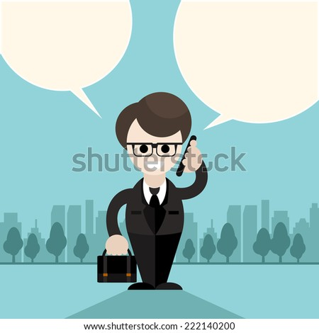 Happy businessman holding phone in his hand near head and talking bubble other hand holding briefcase with documents on city background cartoon design style - stock vector
