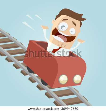 happy businessman in a roller coaster