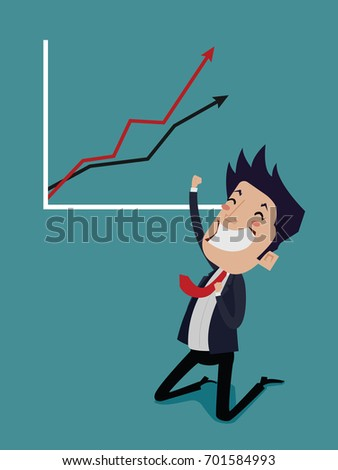 Happy businessman In graph of success, vector cartoon