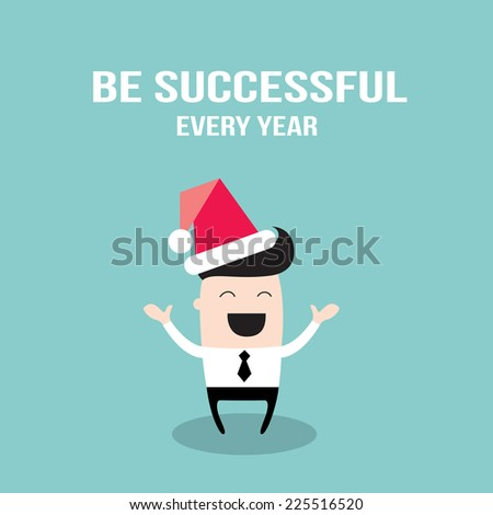 Happy businessman in Santa Claus hat. Merry Christmas and Happy New Year for your colleagues and partners. Be successful at work every year business concept. Vector illustration - stock vector