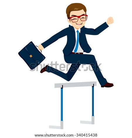 Happy businessman jumping hurdle successful  concept overcoming difficulties in business - stock vector