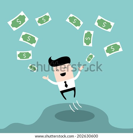 Happy businessman jumping surrounded by money. Cute cartoon character. Profit, successful business concept. Vector illustration. - stock vector