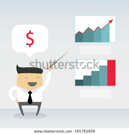 Happy businessman proudly present growing business statistics and profit. Business concept. Vector illustration. - stock vector