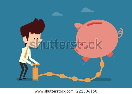 Happy businessman pumping money to piggy bank - stock vector