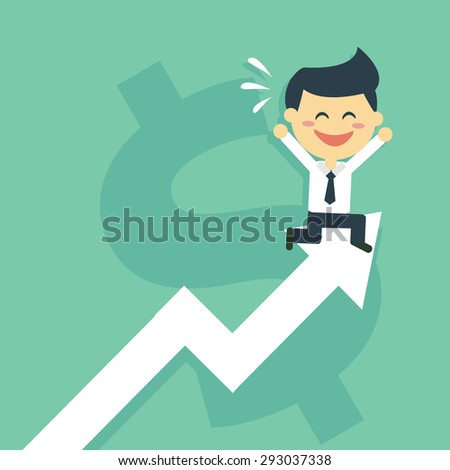 Happy Businessman run to the top of stock graph, stock graph has been increase cartoon flat design