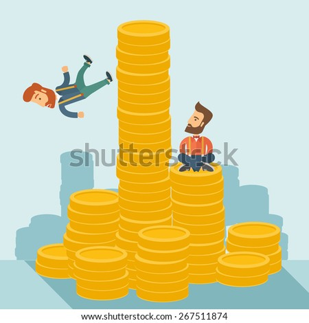 Happy businessman sitting with self confidence on the top of a coin while competitor feel sad on his falling down from higher piled coin as a symbol of unsuccessful business. A contemporary style with - stock vector