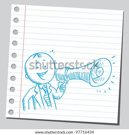 Happy businessman speaking in to megaphone - stock vector