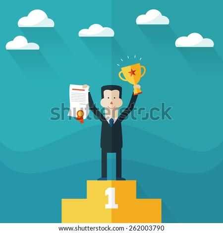 Happy businessman stands on pedestal with award certificate and trophy - stock vector