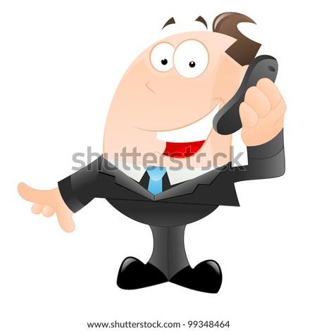 Happy Businessman Talking on Phone - stock vector