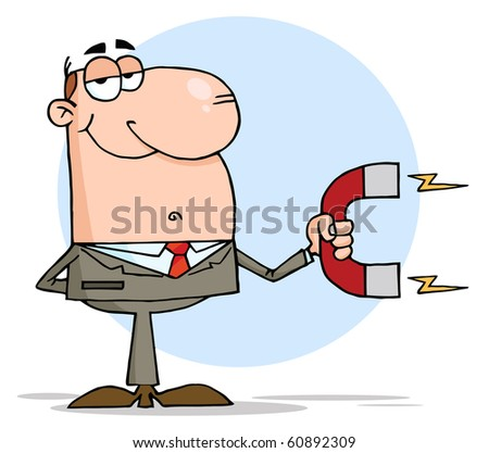 Happy Businessman Using A Magnet - stock vector