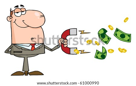 Happy Businessman Using A Magnet To Attracts Money
