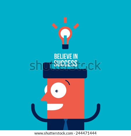 Happy businessman with bright idea Business success concept Vector illustration - stock vector
