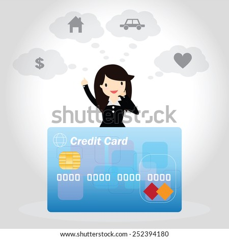 Happy businessman with credit card and thinking a dreaming of having money home car and love. - stock vector