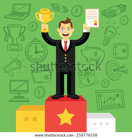 Happy businessman with gold cup and certificate standing on pedestal.Success business concept. Trendy flat design.Green background with hand drawn marketing,seo, business icons set.Vector illustration - stock vector