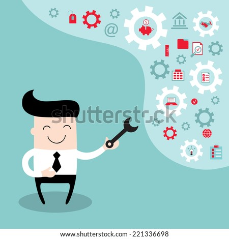 Happy businessman with the gears, thoughts and ideas, fixing every problem. Brain storming, successful business idea concept. Vector illustration - stock vector