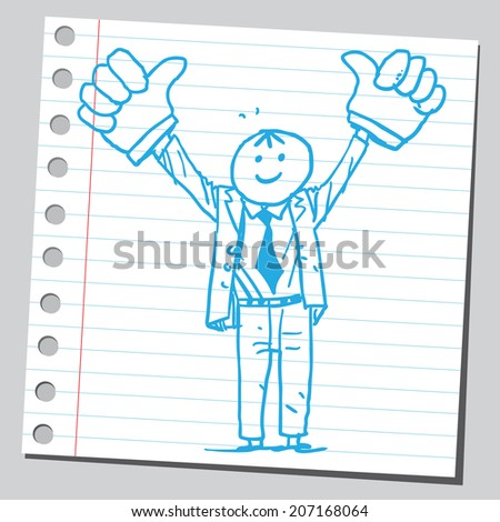 Happy businessman with thumbs up