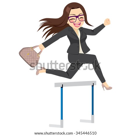 Happy businesswoman jumping hurdle successful concept overcoming difficulties in business - stock vector