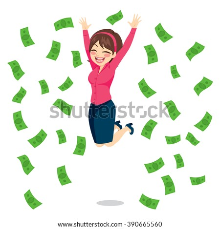 Happy businesswoman jumping surrounded by green money bills falling - stock vector