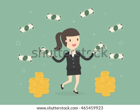 Happy businesswoman throwing money up. Business concept cartoon illustration
