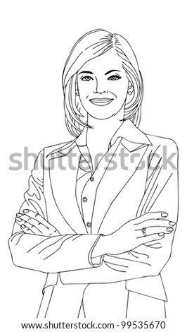 Happy businesswoman  vector illustration in outline; isolated on background.