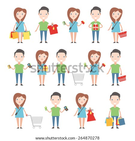 Happy buyers set. Men and women with shopping carts, bags and shopping. - stock vector