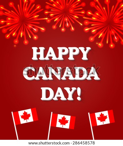 Happy Canada Day card with fireworks and Canada flags, vector illustration - stock vector
