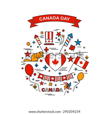 Happy Canada Day elements set - stock vector