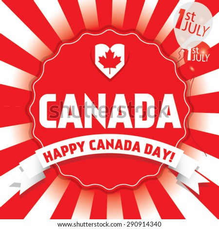 Happy Canada Day first of July. Vector modern stylish card illustration.  - stock vector