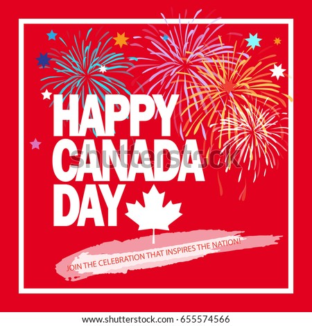 Happy canada day greeting card poster stock vector royalty free happy canada day greeting card poster placard with firework lettering stars m4hsunfo