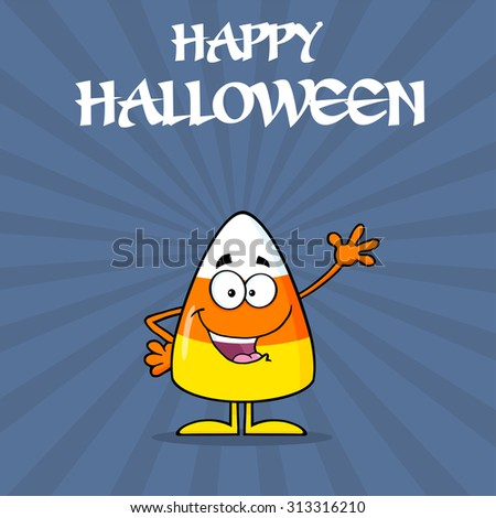 Happy Candy Corn Cartoon Character Waving. Vector Illustration With Background And Text - stock vector