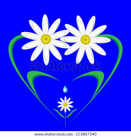 happy,caring family of daisies in the shape of a heart. - stock vector