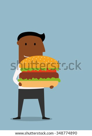 Happy cartoon african american businessman carrying a huge hamburger with beef and fresh vegetables. Fast food or business lunch concept design - stock vector