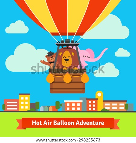 Happy cartoon animals flying on hot air balloon above scenic summer city landscape. Bear in the hat, lion and elephant. Flat vector cartoon background illustration.