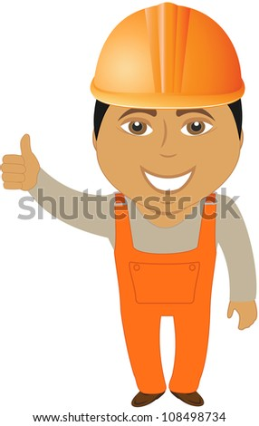 happy cartoon arabian builder showing thumb up
