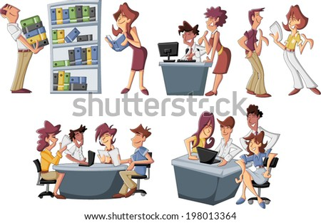 Happy cartoon business people working at office - stock vector