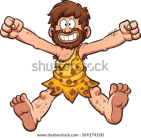 Happy cartoon caveman. Vector clip art illustration with simple gradients. All in a single layer. - stock vector