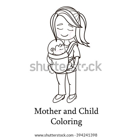 Happy Cartoon Characters Mother Carrying A Child Using Handy Baby Carrier Wearing