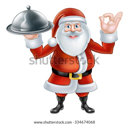 Happy cartoon Christmas Santa Claus holding a silver platter of food and giving a perfect hand gesture - stock vector