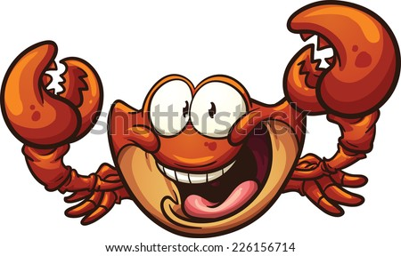 Happy cartoon crab. Vector clip art illustration with simple gradients. All in a single layer. - stock vector
