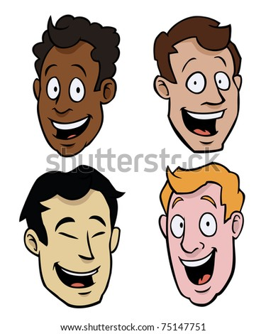 Happy cartoon faces of males of different races.