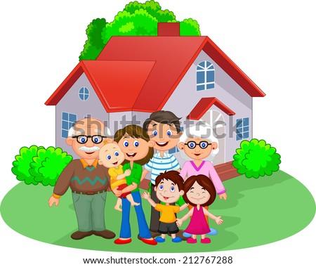 Happy cartoon family - stock vector