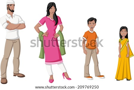 Happy cartoon family. Indian people.  - stock vector